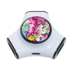 Colorful Flowers Patterns 3-Port USB Hub