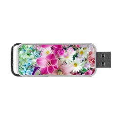 Colorful Flowers Patterns Portable USB Flash (One Side)