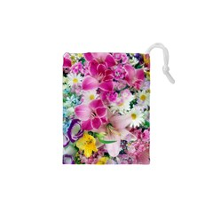 Colorful Flowers Patterns Drawstring Pouches (XS)