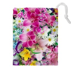 Colorful Flowers Patterns Drawstring Pouches (XXL)