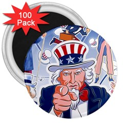 Independence Day United States Of America 3  Magnets (100 pack)