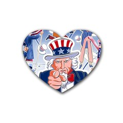 Independence Day United States Of America Heart Coaster (4 pack)