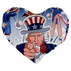 Independence Day United States Of America Large 19  Premium Heart Shape Cushions