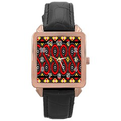 Toraja Traditional Art Pattern Rose Gold Leather Watch