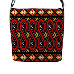 Toraja Traditional Art Pattern Flap Messenger Bag (L)
