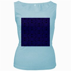 Triangle Knot Purple And Black Fabric Women s Baby Blue Tank Top
