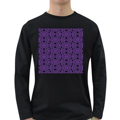 Triangle Knot Purple And Black Fabric Long Sleeve Dark T-Shirts