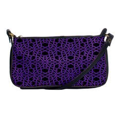 Triangle Knot Purple And Black Fabric Shoulder Clutch Bags