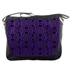 Triangle Knot Purple And Black Fabric Messenger Bags