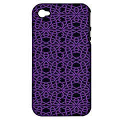 Triangle Knot Purple And Black Fabric Apple iPhone 4/4S Hardshell Case (PC+Silicone)