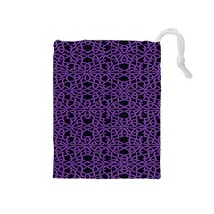 Triangle Knot Purple And Black Fabric Drawstring Pouches (Medium)