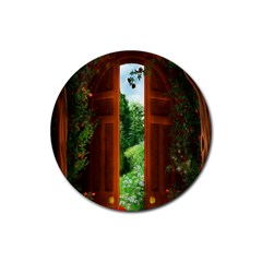 Beautiful World Entry Door Fantasy Rubber Round Coaster (4 pack)