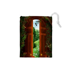 Beautiful World Entry Door Fantasy Drawstring Pouches (Small)