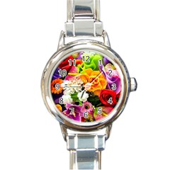 Colorful Flowers Round Italian Charm Watch