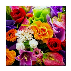 Colorful Flowers Tile Coasters