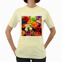 Colorful Flowers Women s Yellow T-Shirt
