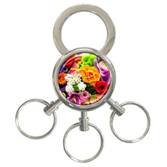 Colorful Flowers 3-Ring Key Chains