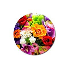 Colorful Flowers Magnet 3  (Round)