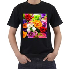 Colorful Flowers Men s T-Shirt (Black) (Two Sided)