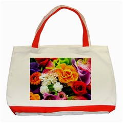 Colorful Flowers Classic Tote Bag (Red)