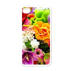 Colorful Flowers Apple iPhone 4 Case (White)