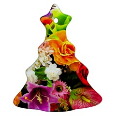 Colorful Flowers Christmas Tree Ornament (Two Sides)