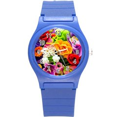 Colorful Flowers Round Plastic Sport Watch (S)