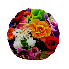 Colorful Flowers Standard 15  Premium Round Cushions