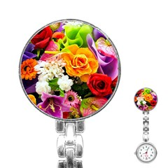 Colorful Flowers Stainless Steel Nurses Watch