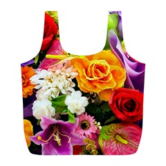 Colorful Flowers Full Print Recycle Bags (L)