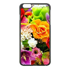 Colorful Flowers Apple iPhone 6 Plus/6S Plus Black Enamel Case