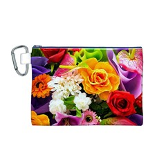 Colorful Flowers Canvas Cosmetic Bag (M)