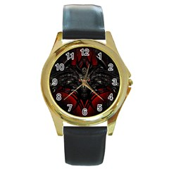 Black Dragon Grunge Round Gold Metal Watch
