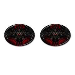 Black Dragon Grunge Cufflinks (Oval)