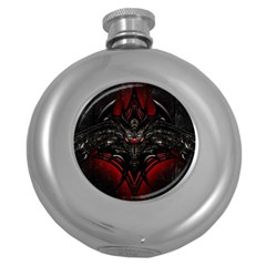 Black Dragon Grunge Round Hip Flask (5 oz)