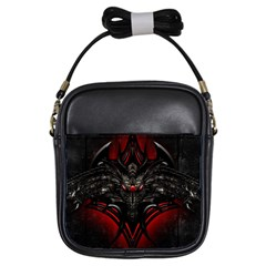 Black Dragon Grunge Girls Sling Bags