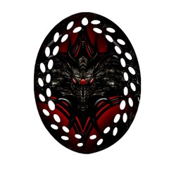 Black Dragon Grunge Oval Filigree Ornament (Two Sides)