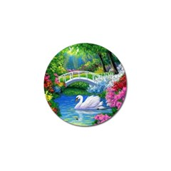 Swan Bird Spring Flowers Trees Lake Pond Landscape Original Aceo Painting Art Golf Ball Marker