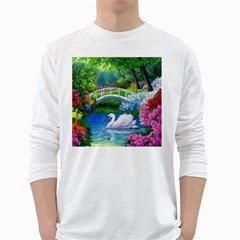 Swan Bird Spring Flowers Trees Lake Pond Landscape Original Aceo Painting Art White Long Sleeve T-Shirts