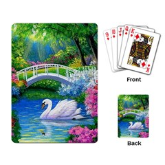 Swan Bird Spring Flowers Trees Lake Pond Landscape Original Aceo Painting Art Playing Card