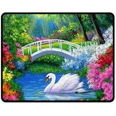 Swan Bird Spring Flowers Trees Lake Pond Landscape Original Aceo Painting Art Fleece Blanket (Medium)