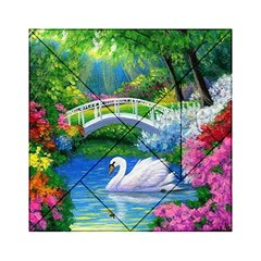 Swan Bird Spring Flowers Trees Lake Pond Landscape Original Aceo Painting Art Acrylic Tangram Puzzle (6  x 6 )