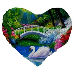 Swan Bird Spring Flowers Trees Lake Pond Landscape Original Aceo Painting Art Large 19  Premium Heart Shape Cushions
