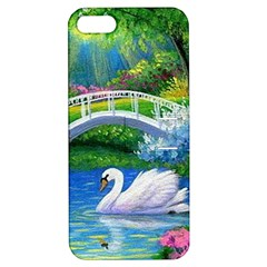 Swan Bird Spring Flowers Trees Lake Pond Landscape Original Aceo Painting Art Apple iPhone 5 Hardshell Case with Stand