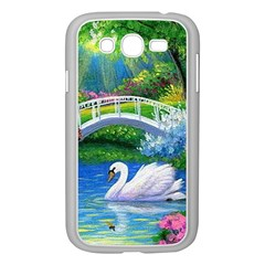 Swan Bird Spring Flowers Trees Lake Pond Landscape Original Aceo Painting Art Samsung Galaxy Grand DUOS I9082 Case (White)