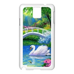 Swan Bird Spring Flowers Trees Lake Pond Landscape Original Aceo Painting Art Samsung Galaxy Note 3 N9005 Case (White)