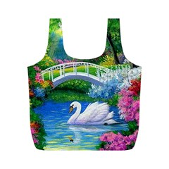 Swan Bird Spring Flowers Trees Lake Pond Landscape Original Aceo Painting Art Full Print Recycle Bags (M)