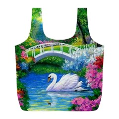 Swan Bird Spring Flowers Trees Lake Pond Landscape Original Aceo Painting Art Full Print Recycle Bags (L)