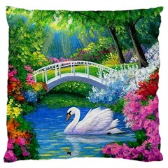 Swan Bird Spring Flowers Trees Lake Pond Landscape Original Aceo Painting Art Large Flano Cushion Case (One Side)