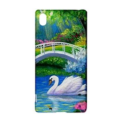 Swan Bird Spring Flowers Trees Lake Pond Landscape Original Aceo Painting Art Sony Xperia Z3+